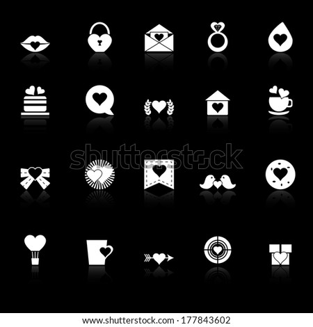 Heart element icons with reflect on black background, stock vector - stock vector