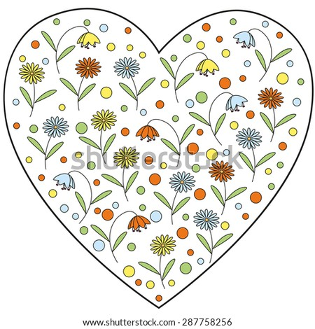 Heart element with daisy flowers and bellflowers inside - stock vector