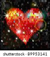 Heart embroidered with sequins - stock photo