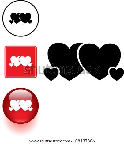 heart family symbol sign and button