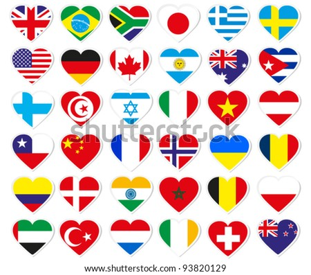 heart flag stickers - stock vector