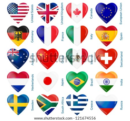 heart flags popular countries
