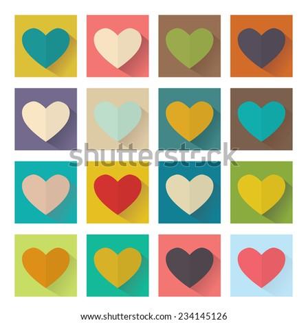 Heart, flat design, square set buttons. Vector illustration - stock vector
