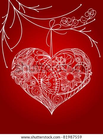 Heart floral design, Hand-Drawn Illustration - stock vector