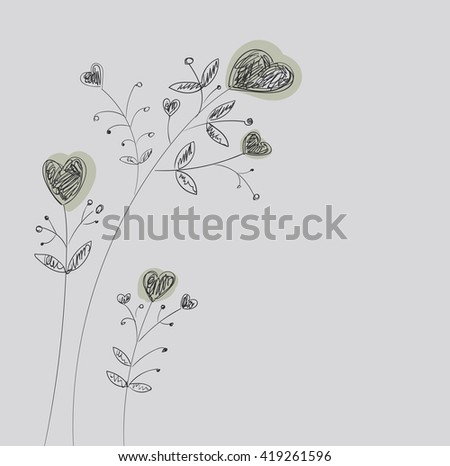 Heart-flowers on stalks. The dashed hand-drawing. - stock vector