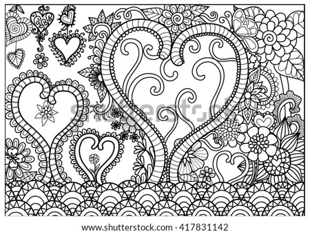 Heart forest line art for coloring book for adult and cards