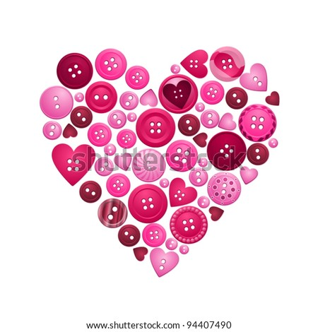 Heart formed from red and pink buttons - stock vector