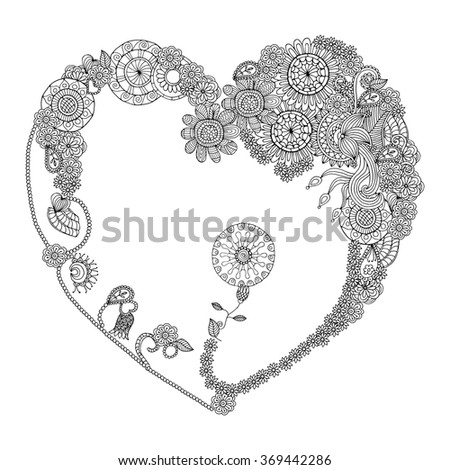 Heart frame made of ornamented floral design. Heart Valentine's Day Doodles Floral Paisley Design Vector Illustration  - stock vector