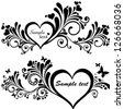 Heart frame with butterfly. Collection of design elements vintage set isolated on White background. Vector illustration - stock vector