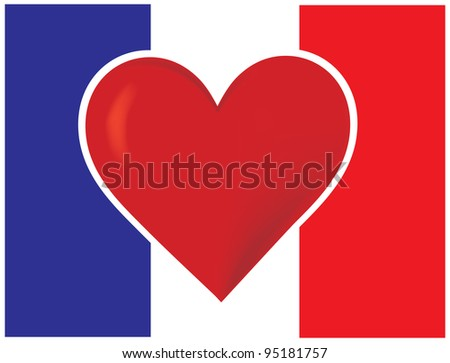 Heart France Flag An image of the French flag with a big red heart at the center.