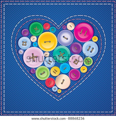 Heart from buttons - stock vector