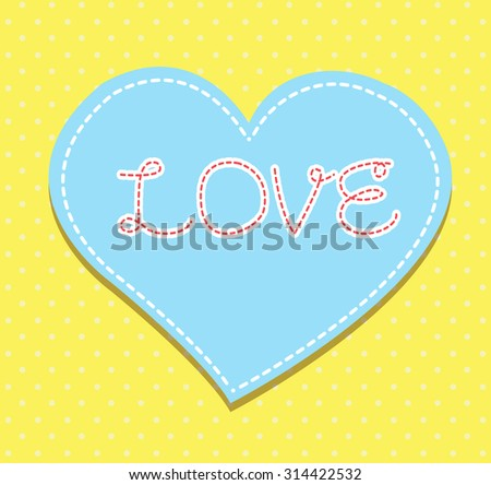Heart from paper Valentines day card vector background. cut blue yellow paper - stock vector