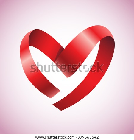Heart from ribbon Valentine's day vector background - stock vector