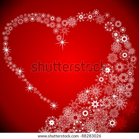 Heart from snowflake blizzard - stock vector