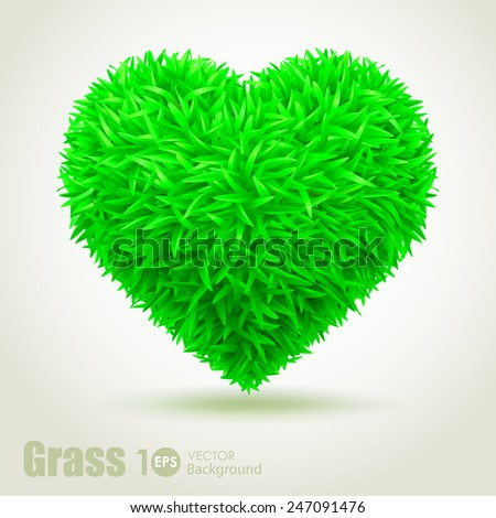 Heart grass. Vector Eps 10. - stock vector