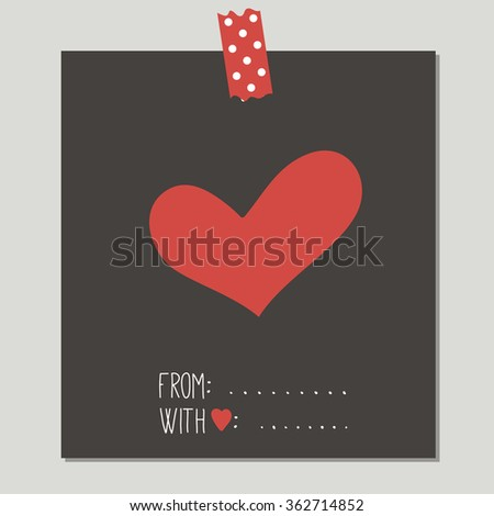 Heart. Hand Drawn Cute Card With Love Design. Perfect for valentines day, birthday, save the date invitation. - stock vector