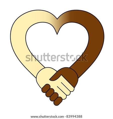 Heart hand shake - stock vector