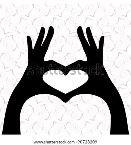 heart hands silhouette (heart pattern behind) - stock vector