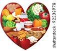 Heart Healthy foods EPS 8 vector, grouped for easy editing, with no open shapes or strokes. - stock vector
