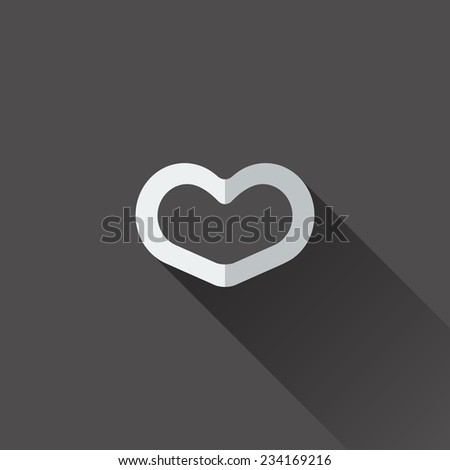 Heart icon. . Flat design in black and white - stock vector