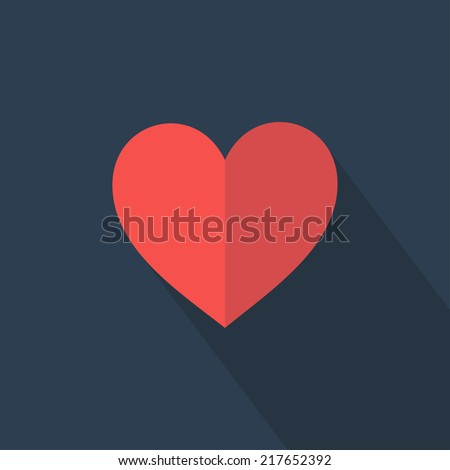 Heart icon. Flat design. Vector illustration