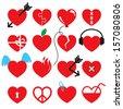 Heart icon set. - stock vector