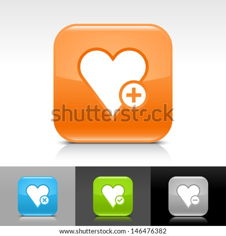Heart icon set. Blue, orange, green, gray color glossy web button with white sign. Rounded square shape with shadow, reflection on white, gray, black background. Vector illustration element 8 eps  - stock vector