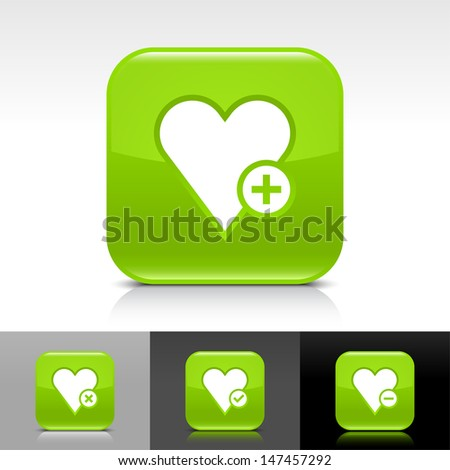 Heart icon set. Green color glossy web button with white sign. Rounded square shape with shadow, reflection on white, gray, black background. Vector illustration design element 8 eps  - stock vector