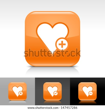 Heart icon set. Orange color glossy web button with white sign. Rounded square shape with shadow, reflection on white, gray, black background. Vector illustration design element 8 eps  - stock vector