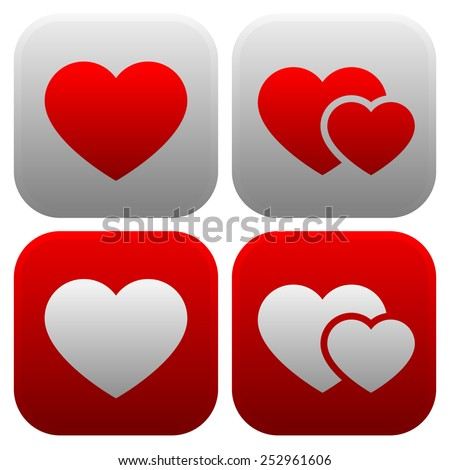 Heart icon set. Single heart, and pair of hearts, two hearts icon. - stock vector