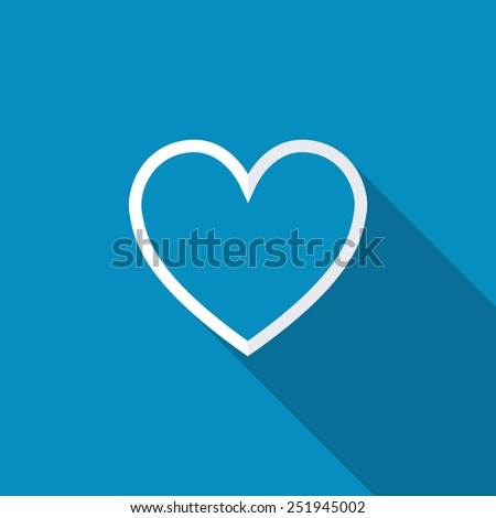 Heart icon vector illustration. Flat design style with long shadow - stock vector
