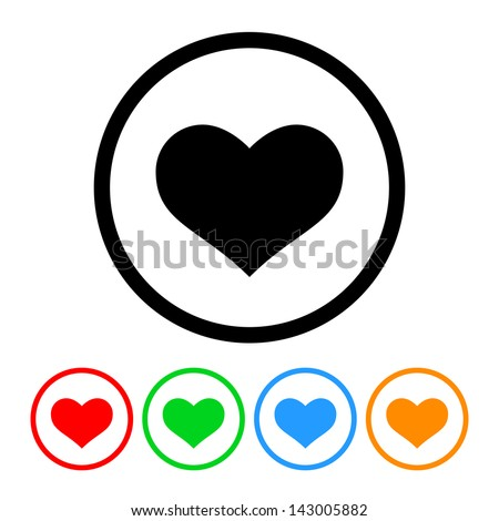 Heart Icon Vector with Four Color Variations - stock vector