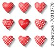 Heart icons set for valentine cards. Vector illustration. - stock vector