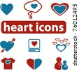 heart icons & signs, vector - stock photo
