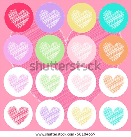 heart icons, valentine's day, card