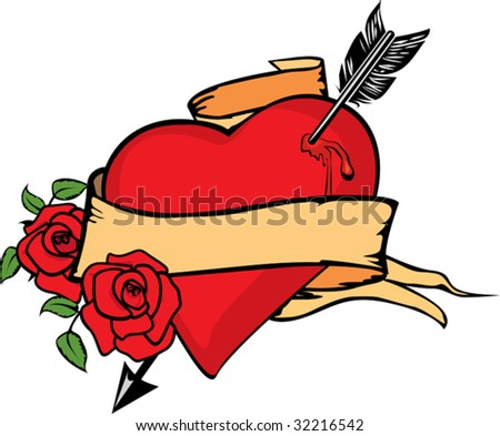 Heart impaled by arrow with two roses. - stock vector