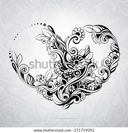 Heart in a flower ornament - stock vector