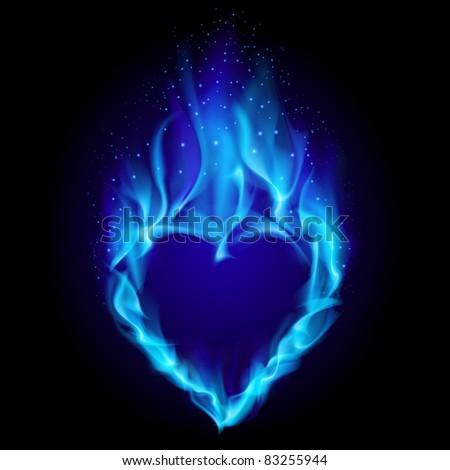 Heart in blue fire. Illustration on black background for design - stock vector