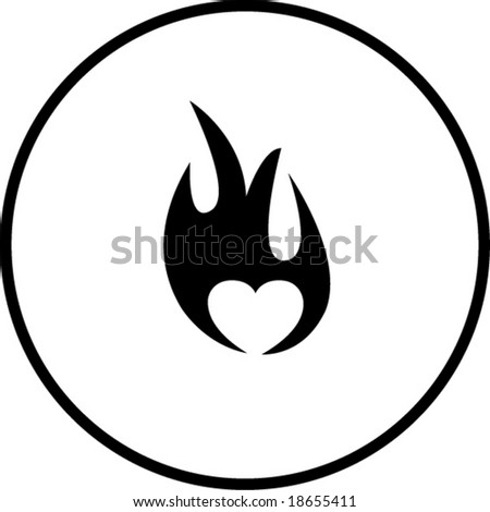 heart in fire symbol - stock vector