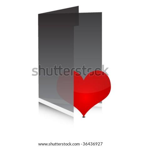 heart in folder - stock vector