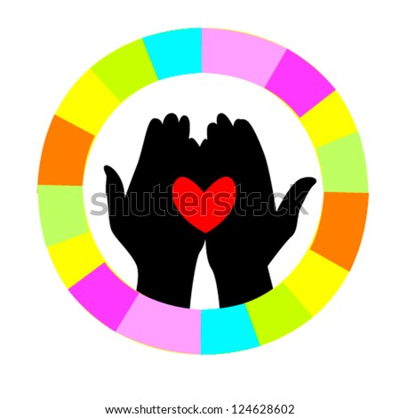 heart in hand in a colorful circle - stock vector