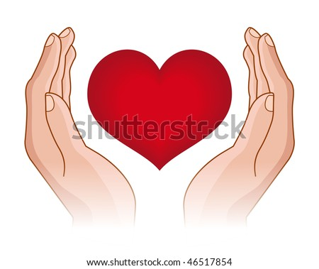 heart in hands - stock vector