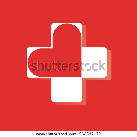 Heart Hospital Icon Design Heart Medical Stock Vector 536532172