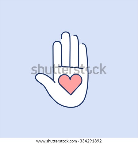 Heart in open hand palm red and white linear icon on blue background | flat design alternative healing illustration and infographic