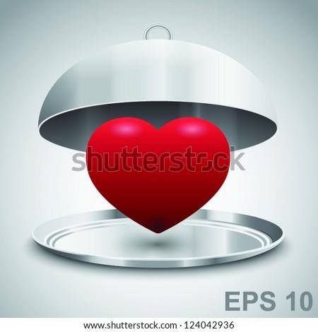 Heart in restaurant cloche. Love concept. Vector illustration - stock vector
