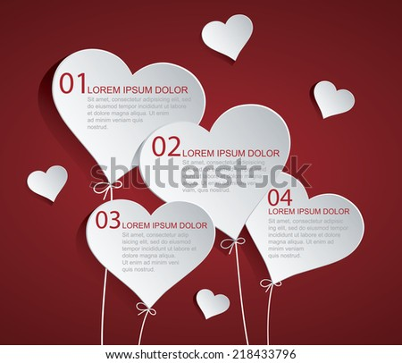 Heart Infographic Easy to use, modify, adjust color and size. Shadow are made with transparency set to Multiply. - stock vector