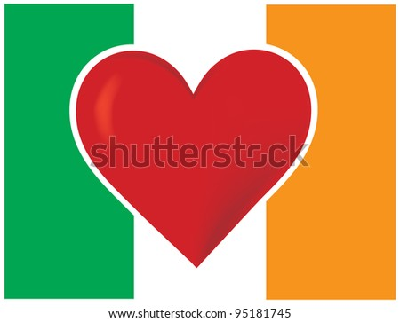 Heart Irish Flag An image of the Irish flag, with a big red heart at the center.