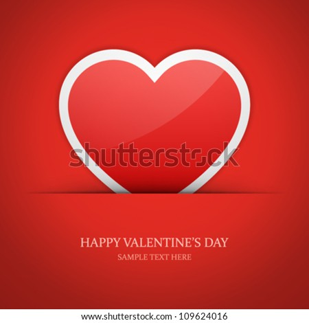 Heart label from paper Valentines day card vector background eps 10 - stock vector