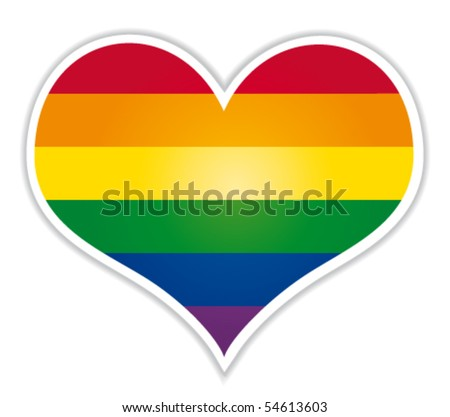 Heart label with lgbt flag. Vector icon. - stock vector