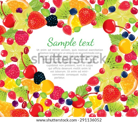 Heart laid out fresh fruit. - stock vector